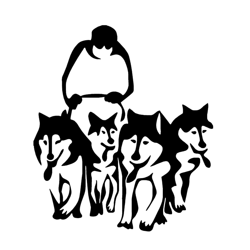 Herren Unisex Kurzarm T-Shirt Dog Sled-Signet Schlittenhunde Schlittenrennen