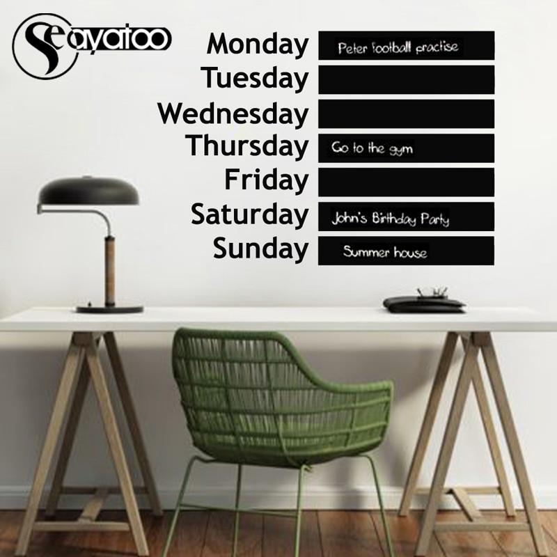 Week Planner Memo List Erasable Chalkboard Blackboard Removable Vinyl Wall Decal Sticker Office