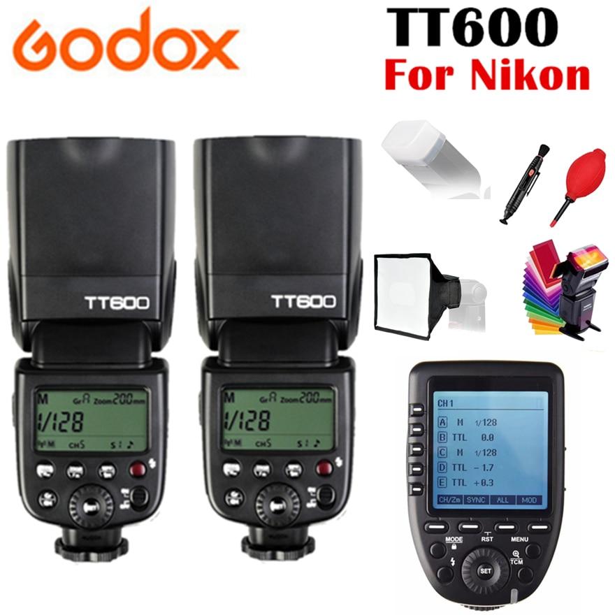 2x Godox TT600 TT600S GN60 2.4G Wireless TTL 1/8000s Flash Speedlite for Nikon D3200 D3300 D5300 D7200 D750 + Xpro-N Trigger godox tt600 gn60 2 4g wireless ttl hss flash speedlite x1t n xpro n trigger for nikon d3200 d3300 d5300 d7200 d750 d90 camera