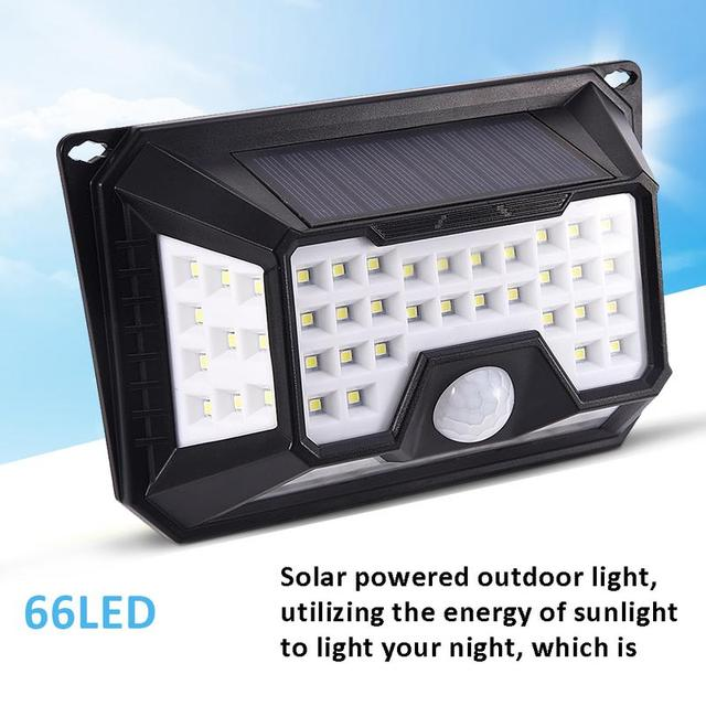Solar Motion Sensor Light Waterproof Outdoor Motion Activated Security 66 LED Bright Powered Light For PatioDeck Yard Garden