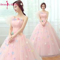 Beauty Emily Cheap Long Colorful Flower Princess Dresses Sleeveless Ball Gown Tulle Dresses Quinceanera Dresses 2018