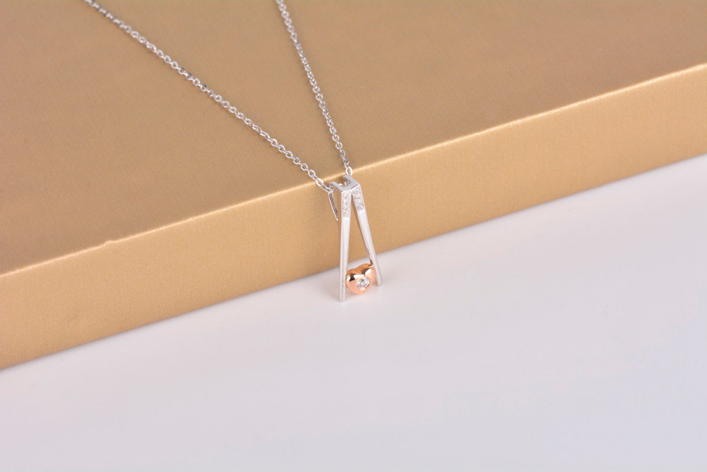 ANI 18K White Gold AU750 Pendant Certified I J SI Natural Diamond Combine 18k Rose Gold Women Wedding Pendant for Necklace in Pendants from Jewelry Accessories