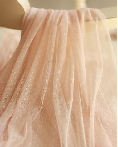 a253486cdac4 10 yards Tulle Fabric in Blush Peach Pink, off white, black, light blue