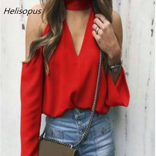 02d741f0f36e7f Helisopus Fashion Summer Women Tops and Blouses Deep V Neck Cold Shoulder  Blouse red white purple color Long Sleeve Shirt