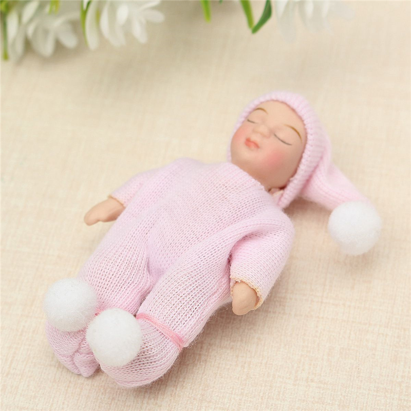 HOT SALE 1: 12 Scale DollHouse Miniature People Figures Porcelain Dolls Sleeping Baby Gift Pink Shoulder & Hip-joints Moved