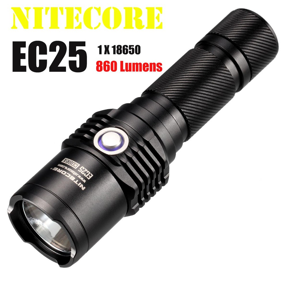 Wholesale Free Shipping NITECORE EC25 Flashlight CREE XM-L U2 LED 860 Lumens Flashlight (1*18650/2*CR123Battery) nitecore srt6 930 lumens cree xm l xm l2 t6 tactical led flashlight black free shipping