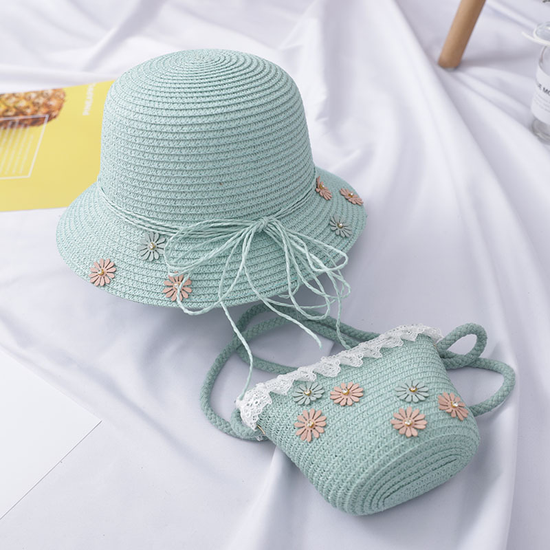 Girls Kids Beach Bucket Breathable Cap Straw Sun Hat+Shoulder Handbag Bag Set US