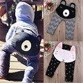 Niños Niñas Niños Oso Conejo Del Niño Del Bebé Bebés PP Pantalones de Impresión de Rayas de Fondo Pantalones Cómodos Leggings Cálido 0-2Y