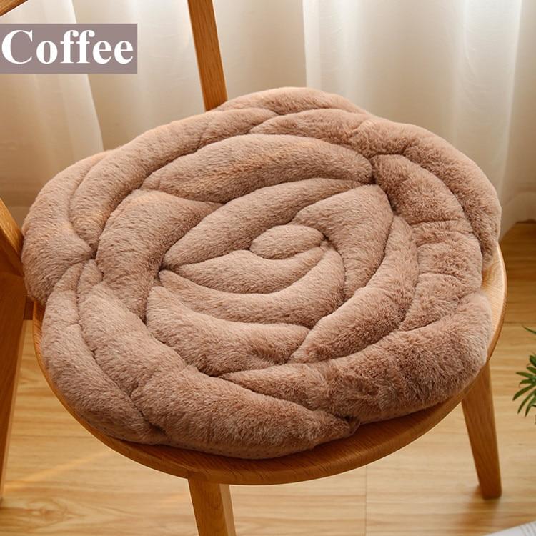 Роза круглый Push Home ковры Офисный Компьютерный стул Pad осень и зима татами подушки мягкие коврики кофе стол пол коврики - Цвет: coffee