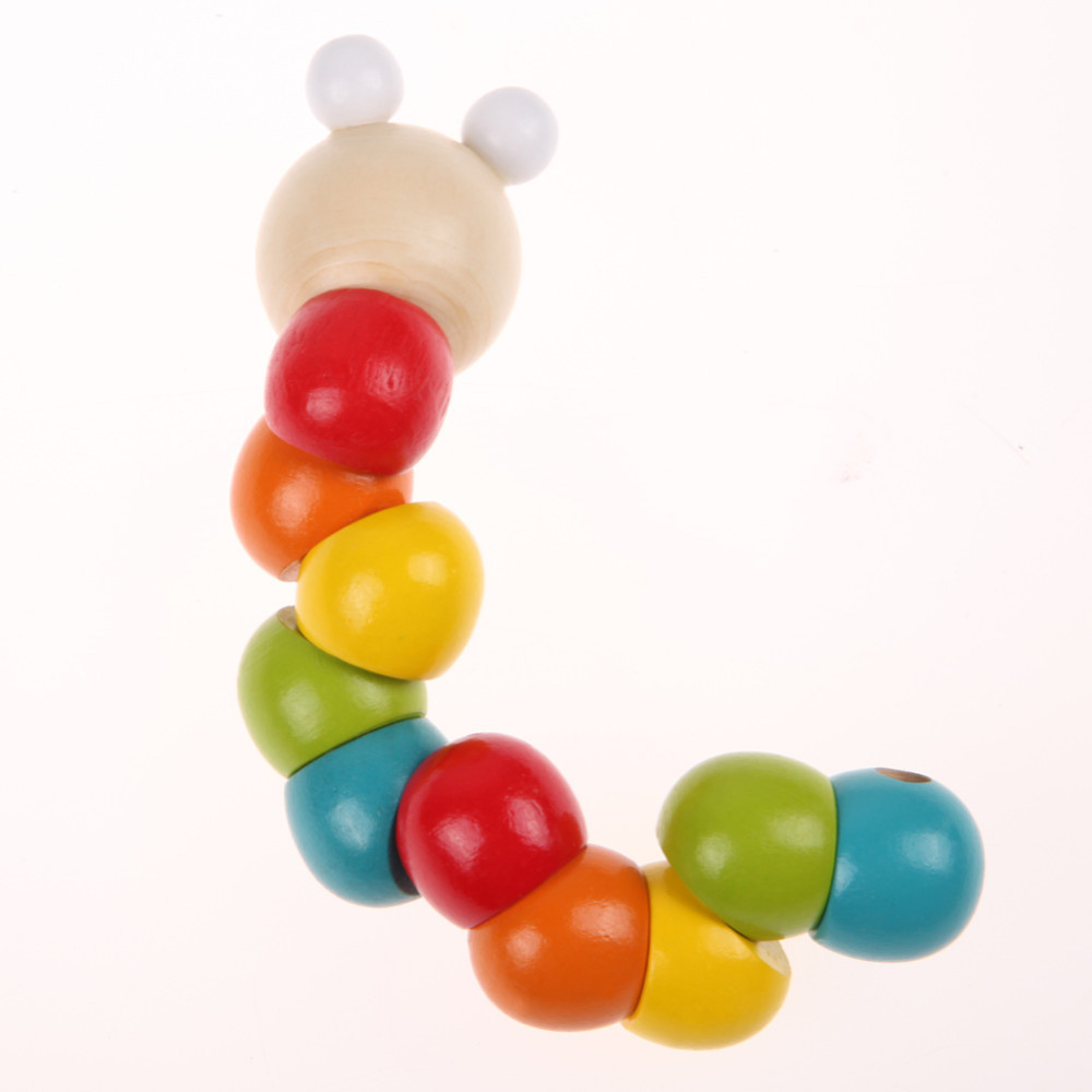 Монтессори Деревянные Caterpillar красочные витой червь упражнения ребенок палец гибкий существо DIY блок развивающие Игрушечные лошадки для дет...
