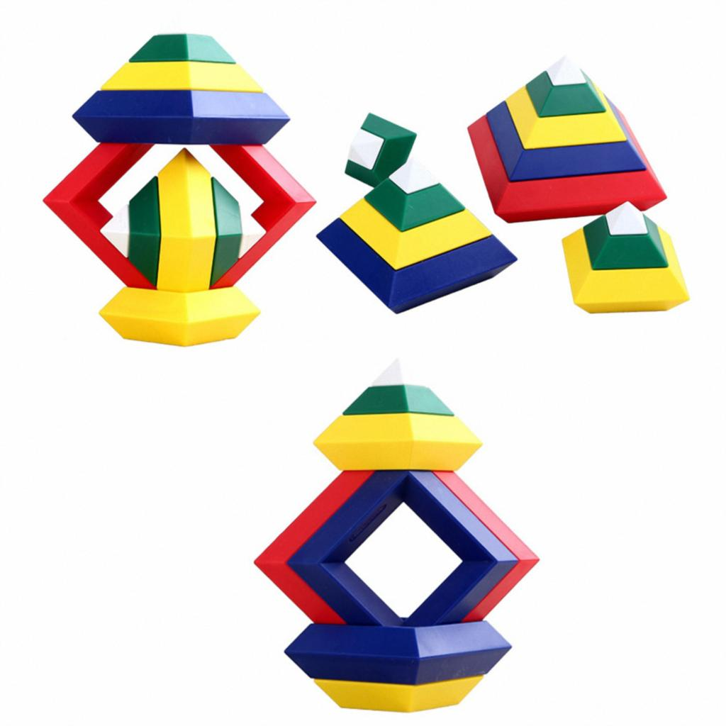 15 Pieces Pyramid Changeable Building Blocks Starter Activity Kit Kids Toys Gift