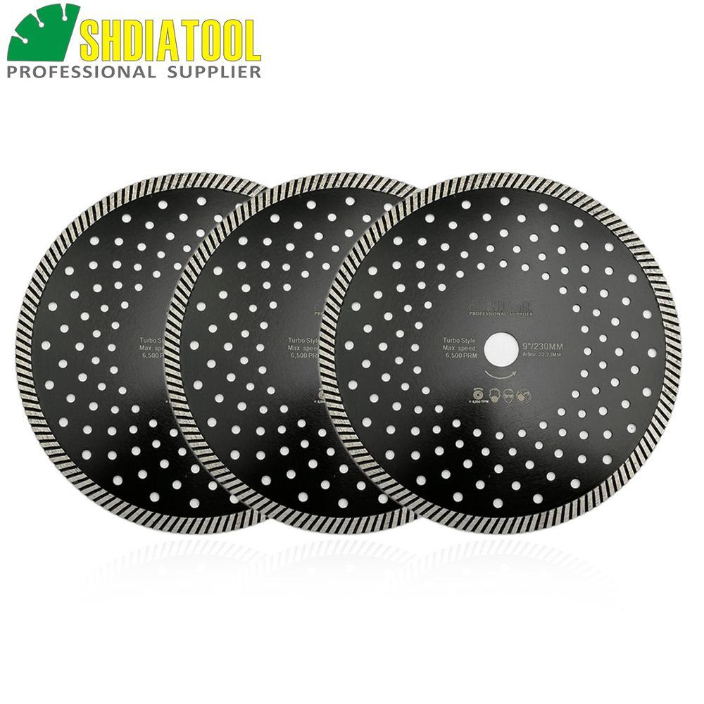 SHDIATOOL 3pcs 230MM Diamond Hot Pressed Diamond Turbo Blade Multi Holes For Aterial Ceramic Tile Granite Cutting