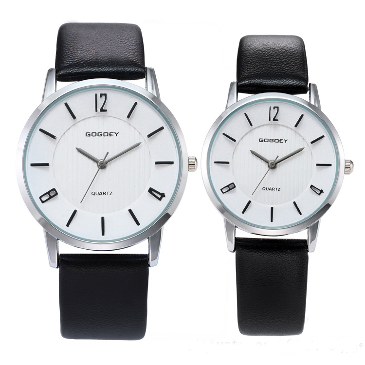 Luxury Gogoey Brand Pair Watches For Men Women Pu Leather Watches Men's Wristwatch Go8527