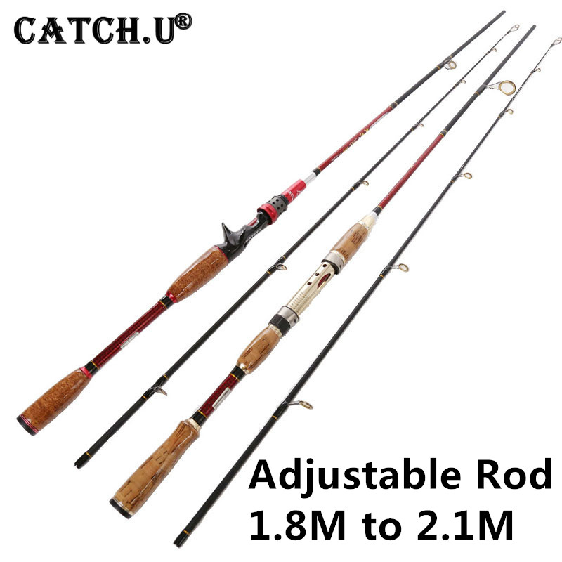 1.8M/2.1M 10-25g Test Adjustable Size Carbon Lure Casting Spinning Fishing Rod
