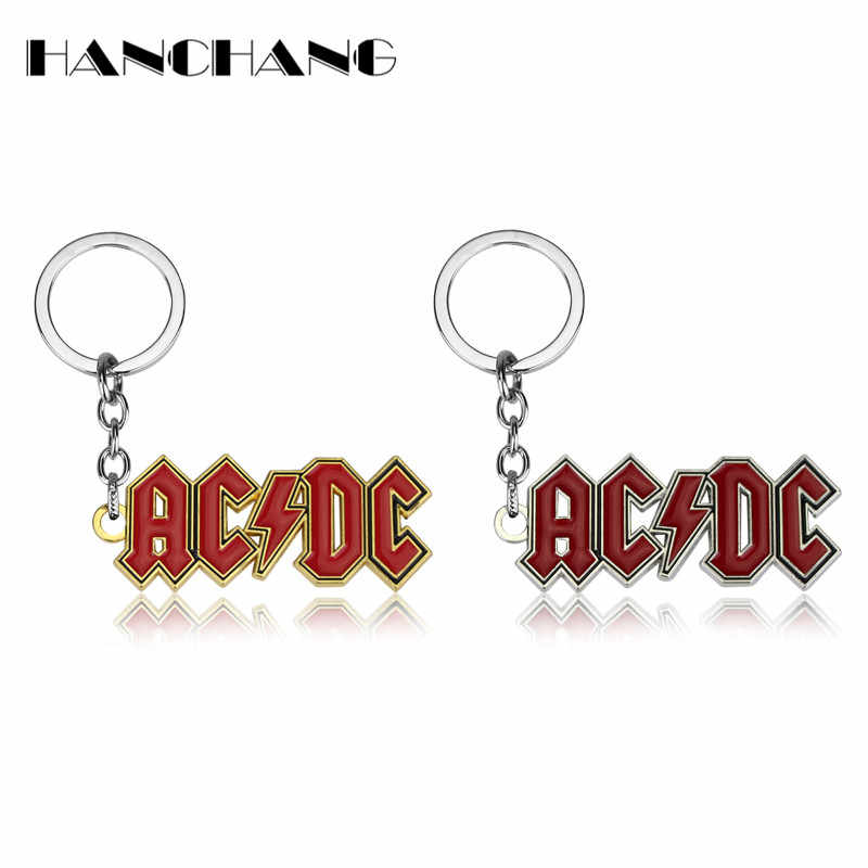 Hot Rock Music Band AC/DC ACDC Red Logo Key Chain Fashion Women Men Accessories Metal Key Ring Letter Keychain