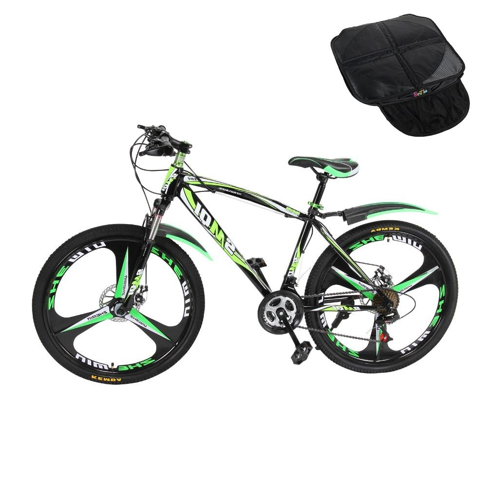 RU Black mountain bike 21 Speeds 26aluminum alloy folding variable speed cycling double vibration damping brakes+2-1 Baby Seat цена
