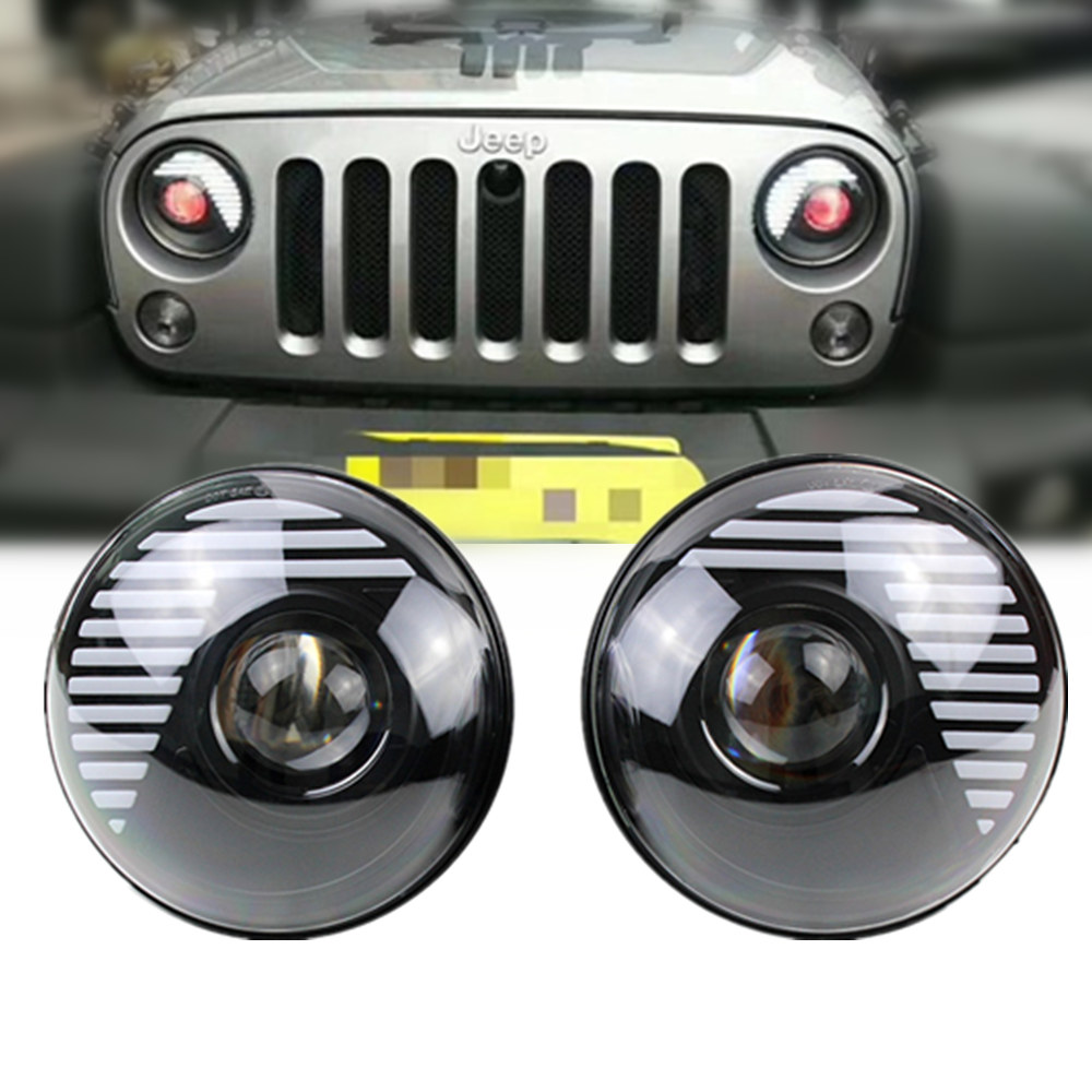 7 Round Black Demon Eye DRL Projector LED Headlight Lamp For Jeep 2 door 4 door Wrangler JK JKU Hummer Lada niva 4x4 Suzuki