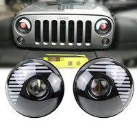 7 Round Black Demon Eye DRL Projector LED Headlight Lamp For Jeep 2 Door 4 Door