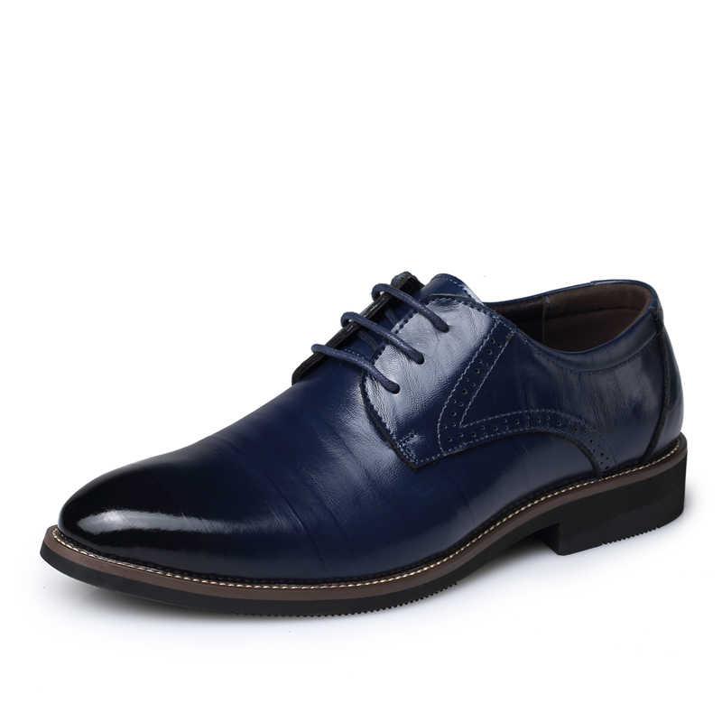POLALI Oxford Ayakkabı Erkekler Için Retro Deri Boyutu 38-48 Erkek Elbise Ayakkabı Nefes Resmi Temel Düğün Düz Kış ayakkabı Erkekler