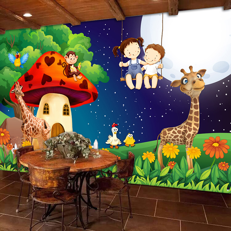 Green Forest Cartoon Mushroom Room Moon Giraffe Large Murals Wallpaper For Kids Room Children Bedroom Wall Decor Mural Animal 3D