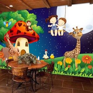 Green Forest Cartoon Mushroom Room Moon Giraffe Large Murals Wallpaper For Kids Room Children Bedroom Wall Decor Mural Animal 3D(China)
