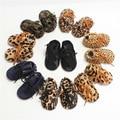 Comercio al por mayor de Cuero genuino pelo de caballo leopardo Recién Nacido Bebé Mocasines Zapatos de suela suave zapatos de bebé Bebe niños botas de invierno cálido zapatos