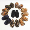 wholesale genuine Leather horse hair leopard Newborn Baby Moccasins winter warm Shoes soft sole baby shoes Bebe boys boots shoes