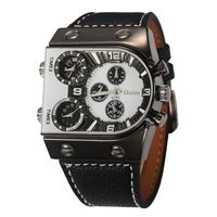 Oulm 3 Time Zone Dial Military Watch For Men 6 Colors Leather Strap Analog Reloj Hombre