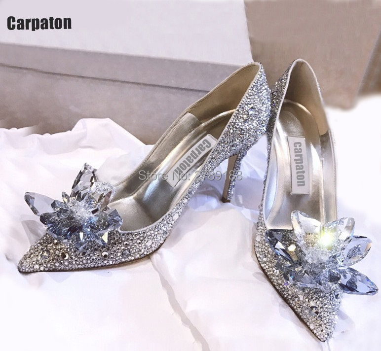 Cinderella Shoes Rhinestone New 2017 Bridal Women Pumps Sexy Prom Wedding Shoes High thin Heels Pointed Toe Free shipping