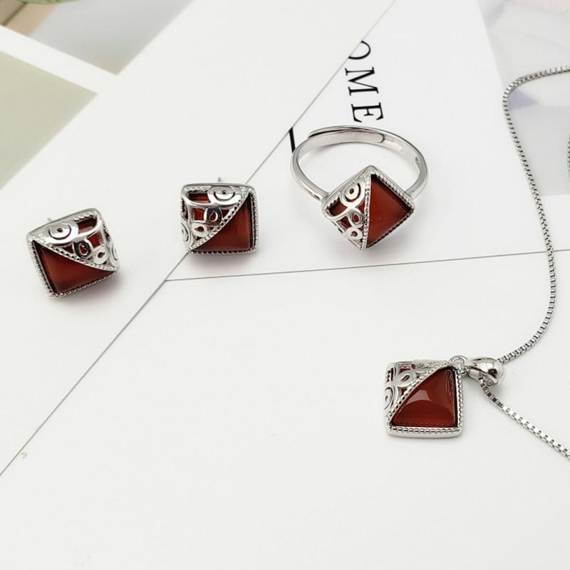 Guaranteed Sterling Silver 925 Jewelry Set Retro Ethnic Women
