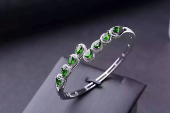 Luxurious across Water drop natural green diopside gem bangles natural gemstone Bracelet S925 silver woman party fine jewelery
