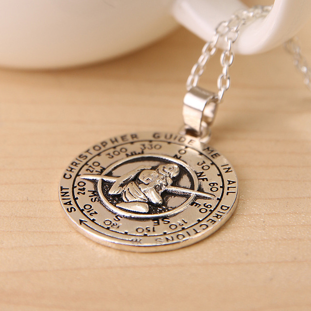 Freeshipping saint christopher pendant necklace 20pcslot fashion freeshipping saint christopher pendant necklace 20pcslot fashion necklace aloadofball Gallery