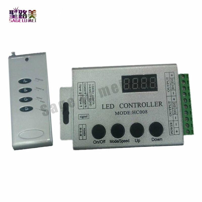 DC12V 5-24 V 4 Tasti rgb ha condotto il regolatore pixel HC008 programmabili, RF di controllo 2048 pixel, 133 modalità di effetto ws2811 2812 led controller