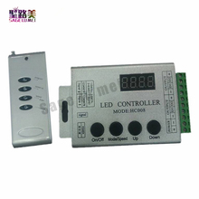 Free shipping DC12V 4Keys HC008 programmable rgb led pixel controller,RF control 2048 pixels,133 effect modes ws2811 controller