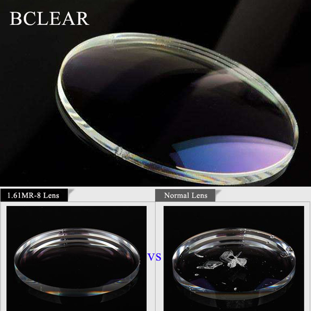 BCLEAR 1.60 Index Aspheric Clear Lens MR 8 Super Hard Optical Glasses Prescription Lenses Strong Anti Reflective for Rimless