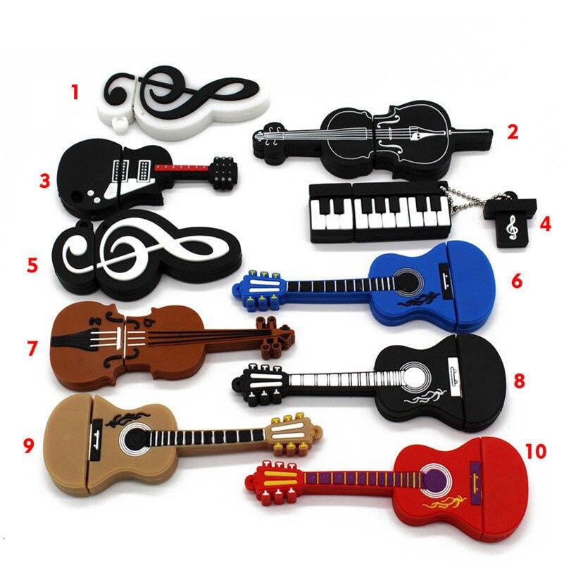 BiNFUL 10 Styles Musical Instruments Model Pendrive 4GB 16GB 32GB 64GB USB Flash Drive Violin/piano/guitar