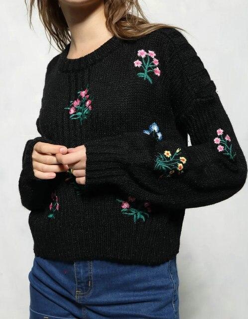 LJ139 Черный Вышивка Длинные Фонарь Рукав Вязаный Свитер Пуловеры Для Женщин 2016 Моды Корейский О-Образным Вырезом Уютный Случайные Бренд Пальто