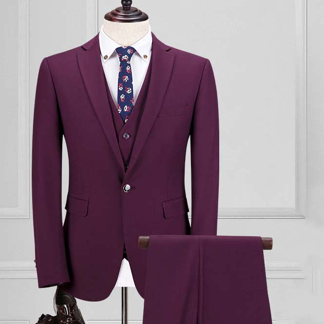 custom made men suits silm three piece purple red one button Korea groom wedding dress suits bridgegroom suit with pant vest B17