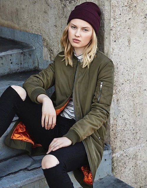 2017 New Women Long Padded Flight Bomber Jackets Lady black Army green Casual Fashion Winter Warm Clothes Coat