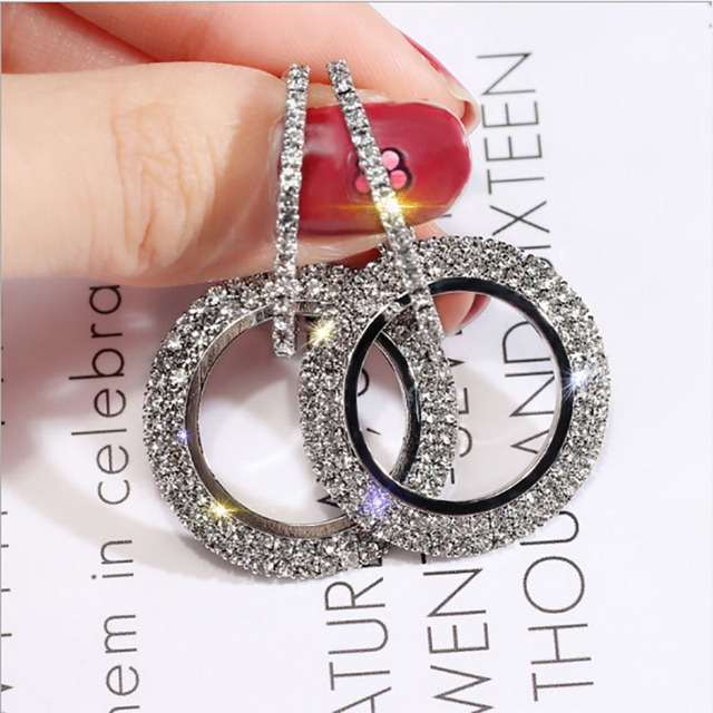 2018 creative jewelry high-grade elegant crystal earrings round Gold and silver earrings wedding party for women merry christmas 2