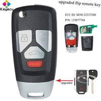 KEYECU Upgraded Flip Remote Car Key With 3 1/ 4 Buttons& 433MHz & ID46 Chip FOB for GMC/ Chevrolet Tahoe Suburban M3N 32337200