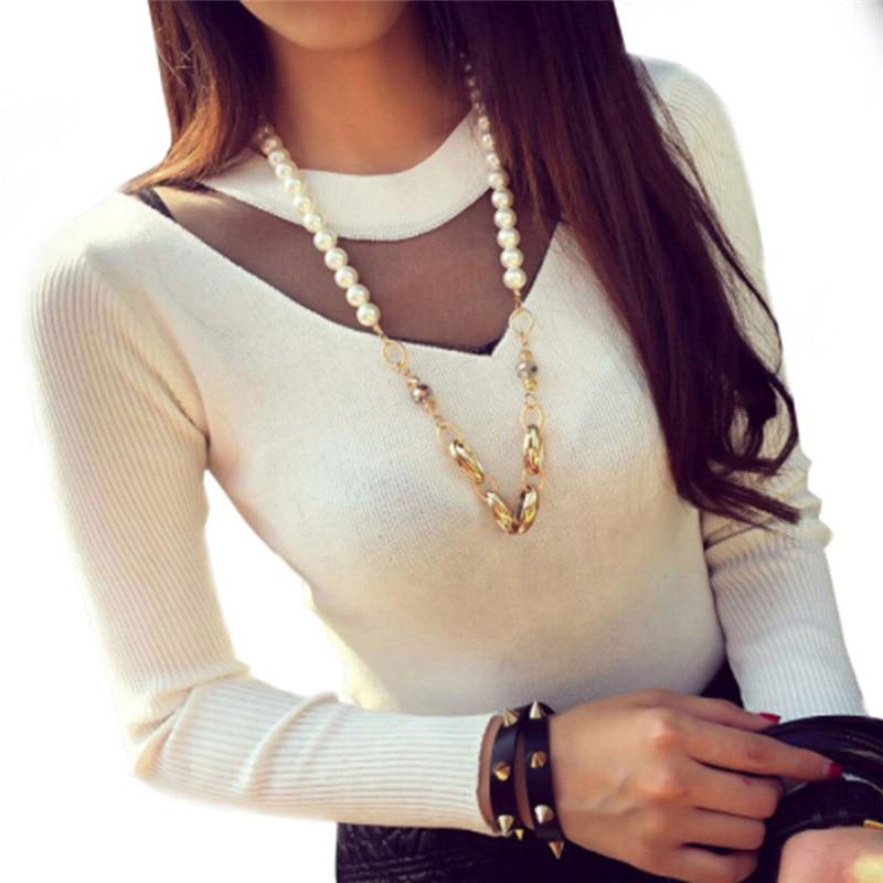 Fashion Women Sexy Long Sleeve Slim Mesh Sheer Splicing Knitwear Shirts Tops