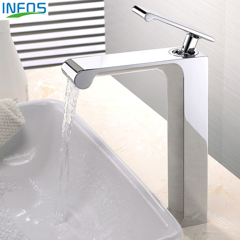 INFOS Brass Single Hole Bathroom Sink Tall Faucets Hot And Cold Water Single Handle Deck Mounted Mixer Tap IFC101 infos brass single hole bathroom sink tall faucets hot and cold water single handle deck mounted mixer tap ifc101