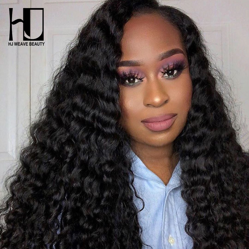 HJ WEAVE BEAUTY 4x4 Lace Closure Wig Brazilian Virgin Hair Deep Wave Human Hair Wigs For Black Women Glueless Lace Wigs