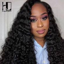 HJ WEAVE BEAUTY 4x4 Lace Closure Wig Brazilian Virgin Hair Deep Wave Human Hair Wigs For Black Women Glueless Lace Wigs(China)
