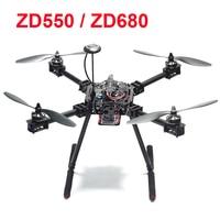 ZD550 550mm / ZD680 680mm Pure Carbon Fiber Umbrella Folding FPV Quadcopter Frame Kit with Carbon Fiber Landing Gear Skid