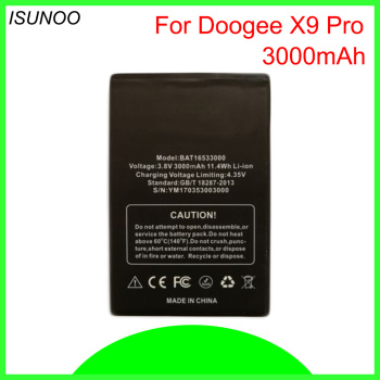ISUNOO 10pcs/lot 3.8V 3000mAh Battery For DOOGEE X9 pro BAT16533000 Replacement Battery For DOOGEE 5.5inch X9 pro Bateria