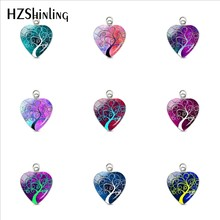 2019 New Arrival Beautiful Colorful Life of Tree Heart Pendants Life of Tree Glass Dome Pendant Jewelry Girls Gifts Accessories(China)