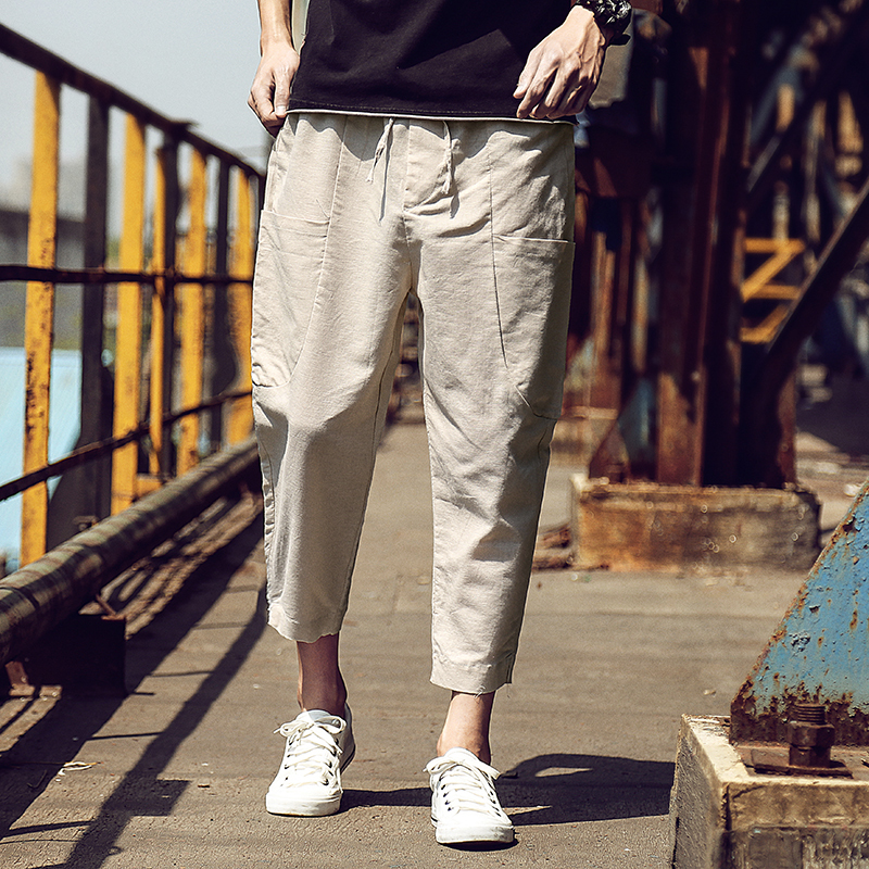 Hot 2018Summer Tide Male Japanese Will Code Leisure Time Nine Part Cotton Pocket Feet Pants for men Personality City Boy joggers