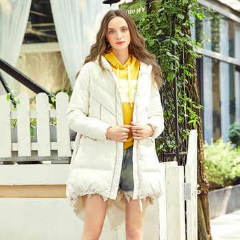 ARTKA New Fashion 2018 Winter Women\'s 90% White Duck Down Jacket Long Down Coat Star Letter Pattern Hooded Parka ZK10087D